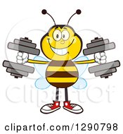 Clipart Of A Happy Honey Bee Working Out With Dumbbells Royalty Free Vector Illustration by Hit Toon