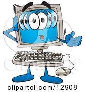Clipart Picture Of A Confused Desktop Computer Mascot Cartoon Character