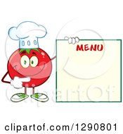 Clipart Of A Happy Tomato Chef Character Pointing To A Blank Menu Royalty Free Vector Illustration by Hit Toon
