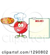 Clipart Of A Happy Tomato Chef Character Holding A Pizza By A Blank Menu Royalty Free Vector Illustration by Hit Toon