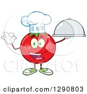 Clipart Of A Happy Tomato Chef Character Holding A Cloche And Gesturing Ok Royalty Free Vector Illustration by Hit Toon