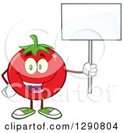 Clipart Of A Happy Tomato Character Holding Up A Blank Sign Royalty Free Vector Illustration by Hit Toon