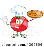 Clipart Of A Happy Tomato Chef Character Holding A Pizza And Gesturing Ok Royalty Free Vector Illustration by Hit Toon
