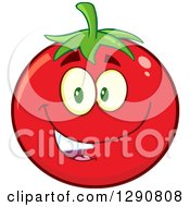 Clipart Of A Happy Tomato Character Smiling Royalty Free Vector Illustration by Hit Toon