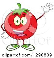 Clipart Of A Happy Tomato Character Waving Royalty Free Vector Illustration by Hit Toon
