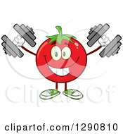 Clipart Of A Happy Tomato Character Working Out With Dumbbells Royalty Free Vector Illustration by Hit Toon