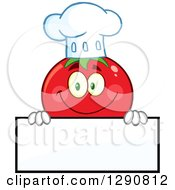 Clipart Of A Happy Tomato Chef Character Smiling Over A Blank Sign Royalty Free Vector Illustration by Hit Toon