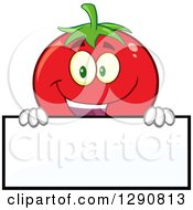 Clipart Of A Happy Tomato Character Smiling Over A Blank Sign Royalty Free Vector Illustration by Hit Toon