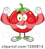 Clipart Of A Happy Strong Tomato Character Flexing His Muscles Royalty Free Vector Illustration by Hit Toon