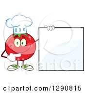 Clipart Of A Happy Tomato Chef Character Pointing To A Blank Sign Royalty Free Vector Illustration by Hit Toon