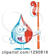 Clipart Of A Happy Blue White And Red Toothpaste Drop Character Holding A Tooth Brush Royalty Free Vector Illustration