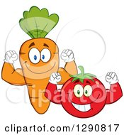 Clipart Of Happy Tomato And Carrot Characters Flexing Their Muscles Royalty Free Vector Illustration