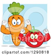 Clipart Of Happy Strong Tomato And Carrot Characters Flexing Their Muscles Over Blue Royalty Free Vector Illustration by Hit Toon