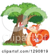 Clipart Of A Cute Happy Squirrel Painting On A Tree Royalty Free Vector Illustration