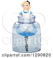 Clipart Of A Tiny Blond Alice In A Jar Royalty Free Vector Illustration by Pushkin