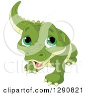 Clipart Of A Cute Green Eyed Baby Alligator Royalty Free Vector Illustration