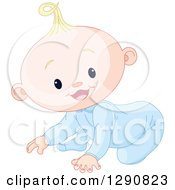 Clipart Of A Cute Happy Blond Caucasian Baby Boy Crawling Royalty Free Vector Illustration by Pushkin