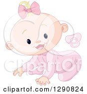 Pink Pacifier And A Cute Happy Blond Caucasian Baby Girl Crawling