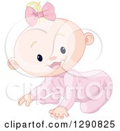 Clipart Of A Cute Happy Blond Caucasian Baby Girl Crawling Royalty Free Vector Illustration