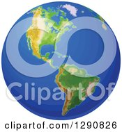 Clipart Of An Eath Globe Featuring The Americas With Gradient Blue Oceans Royalty Free Vector Illustration by Pushkin