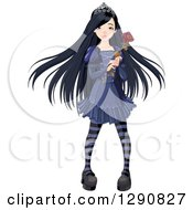 Clipart Of A Dark Gothic Princess With Long Black Hair Holding A Rose Royalty Free Vector Illustration