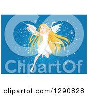 Clipart Of A Happy Blond White Angel Flying With Snowflakes On Blue Royalty Free Vector Illustration by Pushkin