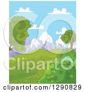 Clipart Of A Lush Green Hilly Spring Time Landscape With Snow Capped Mountains And Blue Sky Royalty Free Vector Illustration