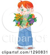 Sweet Red Haired White Boy Holding A Heart Shaped Flower Bouquet For Valentines Or Mothers Day