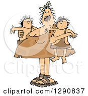 Clipart Of A Chubby Cavewoman Mom Holding Twin Boys Royalty Free Vector Illustration by djart