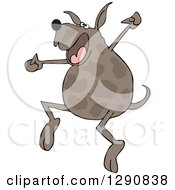 Clipart Of A Happy Brown Spotted Dog Jumping For Joy Royalty Free Vector Illustration by djart