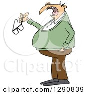 Clipart Of A Chubby Senior Caucasian Man Talking And Holding His Glasses Royalty Free Vector Illustration
