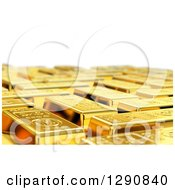 Clipart Of A 3d Background Of Gold Bars With A Shallow Depth Of Field Over White Royalty Free Illustration