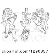 Grayscale Angels With Shadows Playing A Flute Holding A Cross And A Stuffed Animal