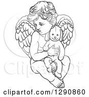Clipart Of A Black And White Angel Holding A Stuffed Animal Royalty Free Vector Illustration