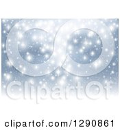 Clipart Of A Background Of Bright White Sparkling Lights Over Blue Royalty Free Vector Illustration