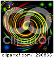 Clipart Of A Background Of Vibrant Colorful Swirls On Black Royalty Free Illustration by oboy