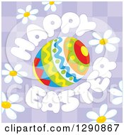 Clipart Of A Patterned Egg With Happy Easter Text And Daisy Flowers Over Purple Checkers Royalty Free Vector Illustration