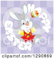 Clipart Of A Happy Gray Bunny Rabbit With An Egg In A Happy Easter Text Circle Over Purple Checkers Royalty Free Vector Illustration