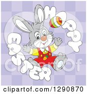 Clipart Of A Happy Cartoon Gray Bunny Rabbit With An Egg In A Happy Easter Text Circle Over Purple Checkers Royalty Free Vector Illustration