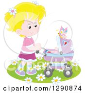 Clipart Of A Blond White Girl Pushing A Doll Or Baby In A Carriage In The Spring Time Royalty Free Vector Illustration