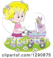 Clipart Of A Blond Caucasian Girl Pushing A Doll Or Baby In A Carriage In The Spring Time Royalty Free Vector Illustration by Alex Bannykh