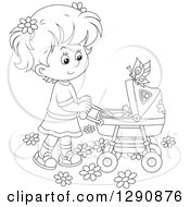 Clipart Of A Black And White Girl Pushing A Doll Or Baby In A Carriage In The Spring Time Royalty Free Vector Illustration