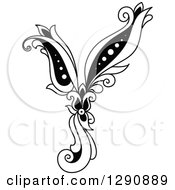 Clipart Of A Black And White Vintage Floral Capital Letter Y Royalty Free Vector Illustration