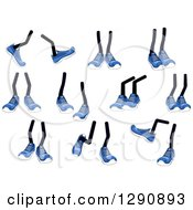 Clipart Of Pairs Of Legs Wearing Blue Tennis Shoes Royalty Free Vector Illustration