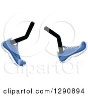 Clipart Of A Pair Of Walking Legs Wearing Blue Tennis Shoes Royalty Free Vector Illustration by Vector Tradition SM