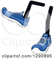 Clipart Of A Pair Of Legs Wearing Blue Tennis Shoes 7 Royalty Free Vector Illustration