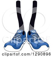 Clipart Of A Pair Of Legs Wearing Blue Tennis Shoes Royalty Free Vector Illustration