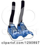 Clipart Of A Pair Of Legs Wearing Blue Tennis Shoes 2 Royalty Free Vector Illustration
