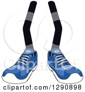 Clipart Of A Pair Of Legs Wearing Blue Tennis Shoes 3 Royalty Free Vector Illustration