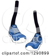 Clipart Of A Pair Of Legs Wearing Blue Tennis Shoes 4 Royalty Free Vector Illustration